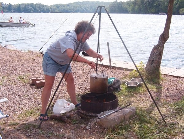 camping - cooking over the fire