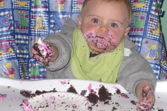 First birthday party - messy face