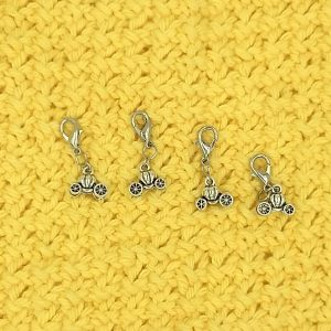 stitch marker / progress keeper with pumpkin carriage