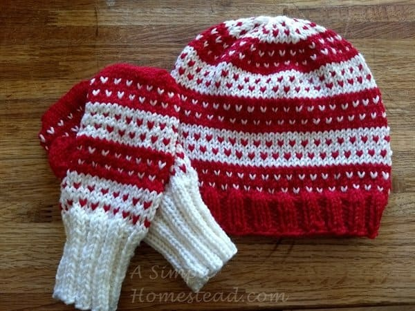 Hearts Aplenty hat and mittens - ASimpleHomestead Designs