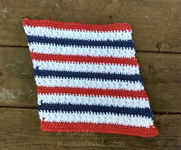 Stars & Stripes Washcloth front - ASimpleHomestead