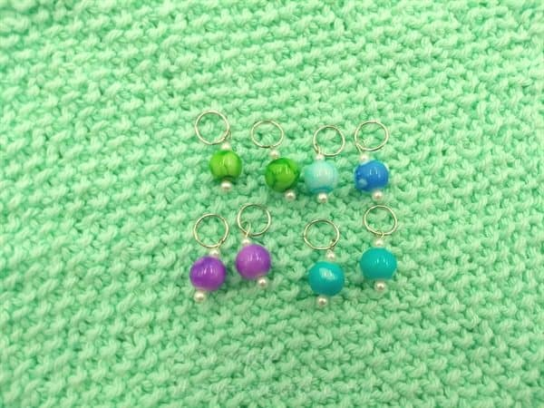marble bubble beaded stitch markers - one set - ASimpleHomestead