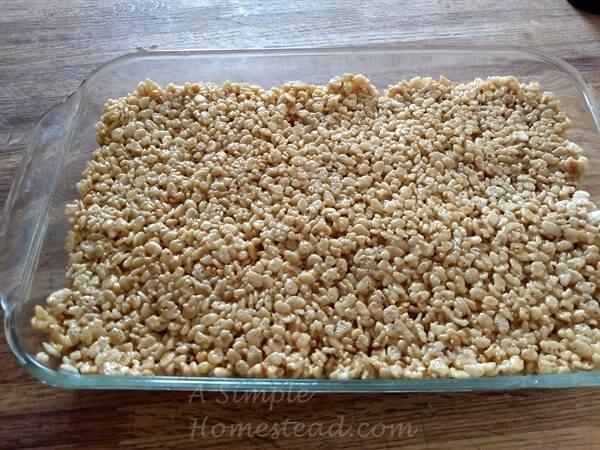 Scotcharoo peanut butter cereal mixture